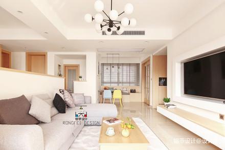 三居客厅北欧装修欣赏图片大全151-200m²三居北欧极简家装装修案例效果图