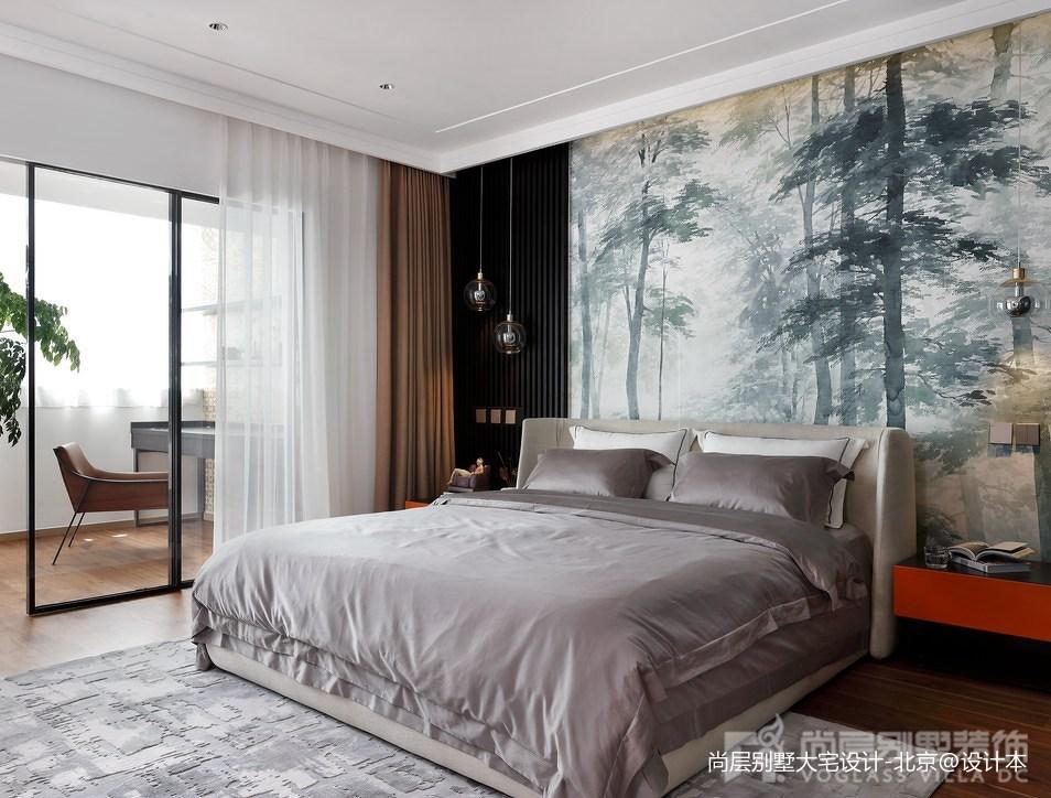 面积141平别墅卧室中式装修实景图片大全卧室1图中式现代卧室设计图片赏析