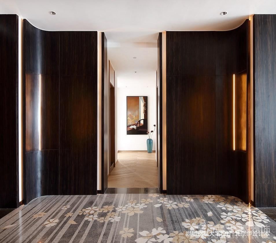 2018面积129平别墅玄关中式装修实景图玄关中式现代玄关设计图片赏析