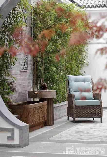 面积140平别墅花园中式装修设计效果图片