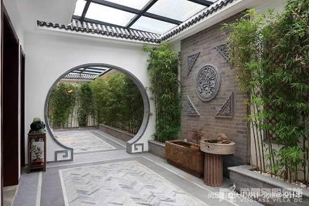 2018132平米中式别墅花园装饰图片欣赏