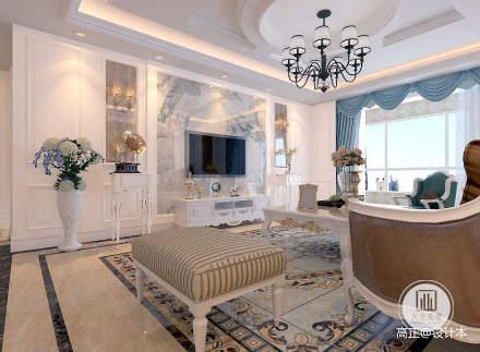 精选面积120平别墅客厅简欧设计效果图