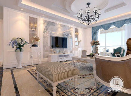 精美面积135平别墅客厅简欧装修图片大全
