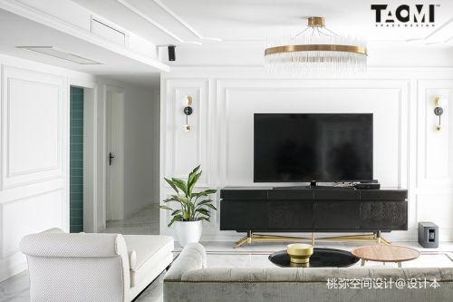 精选111平米四居客厅美式实景图片欣赏客厅窗帘151-200m²四居及以上美式经典家装装修案例效果图