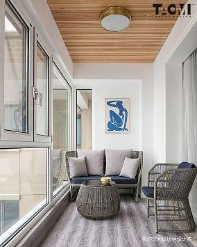 面积130平美式四居阳台装修图四居及以上美式经典家装装修案例效果图
