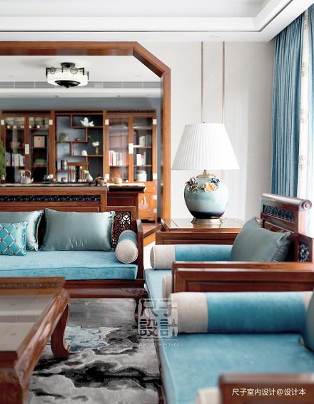 【尺子室内设计】气韵卓然|230㎡新中式雅宅客厅