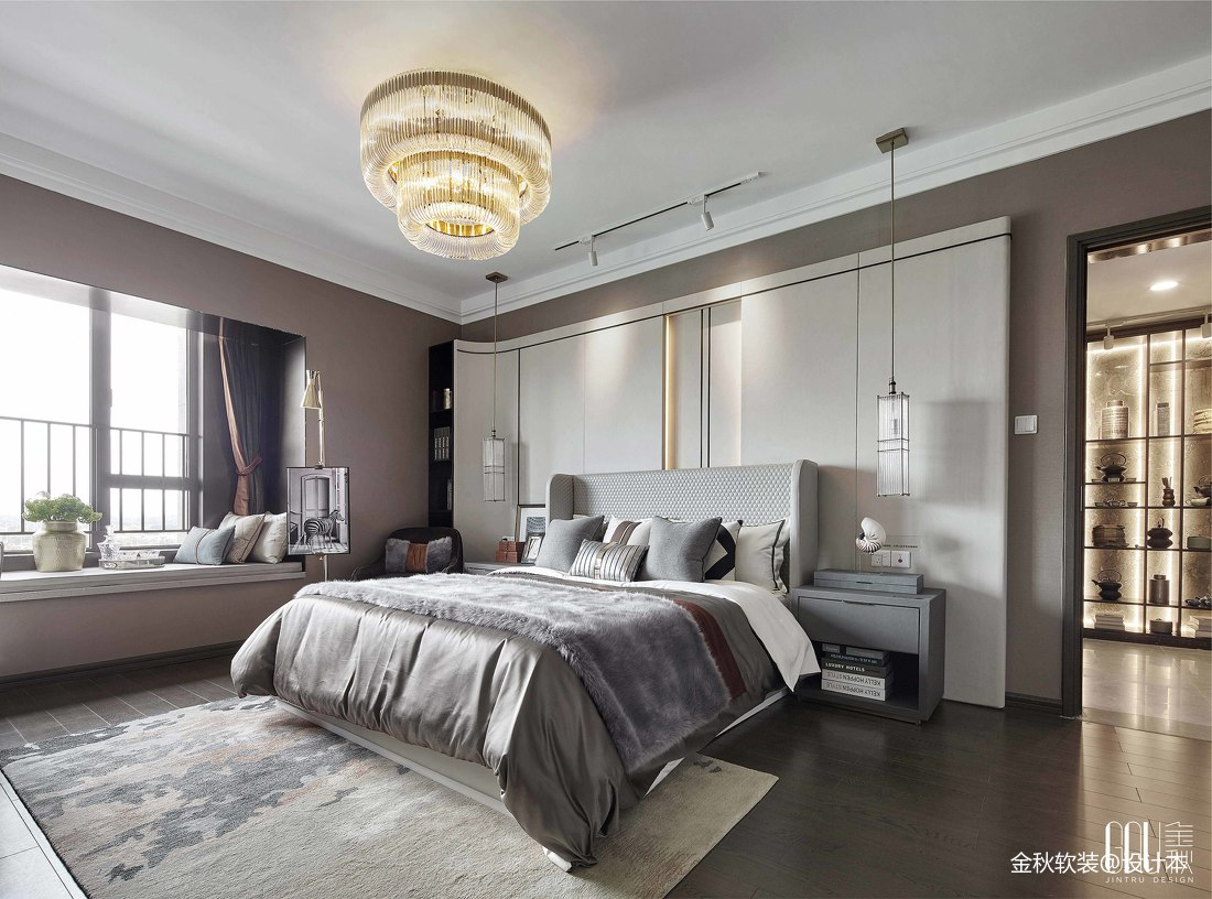 保利中宸花园样板房客厅背景墙设计卧室潮流混搭卧室设计图片赏析