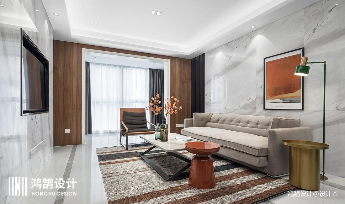 优雅100平现代三居客厅实拍图三居现代简约家装装修案例效果图