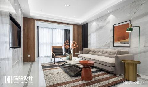 优雅100平现代三居客厅实拍图客厅沙发81-100m²三居现代简约家装装修案例效果图