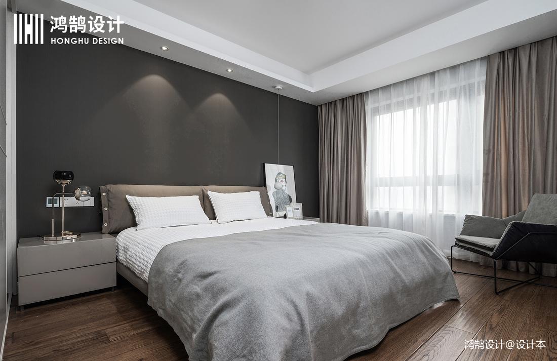 质朴119平现代三居卧室效果图片大全卧室床头柜现代简约卧室设计图片赏析