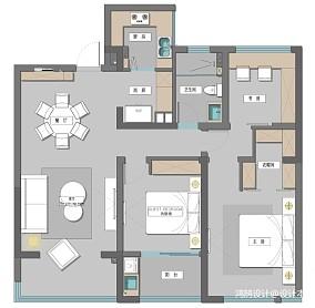 悠雅87平现代三居设计效果图三居现代简约家装装修案例效果图