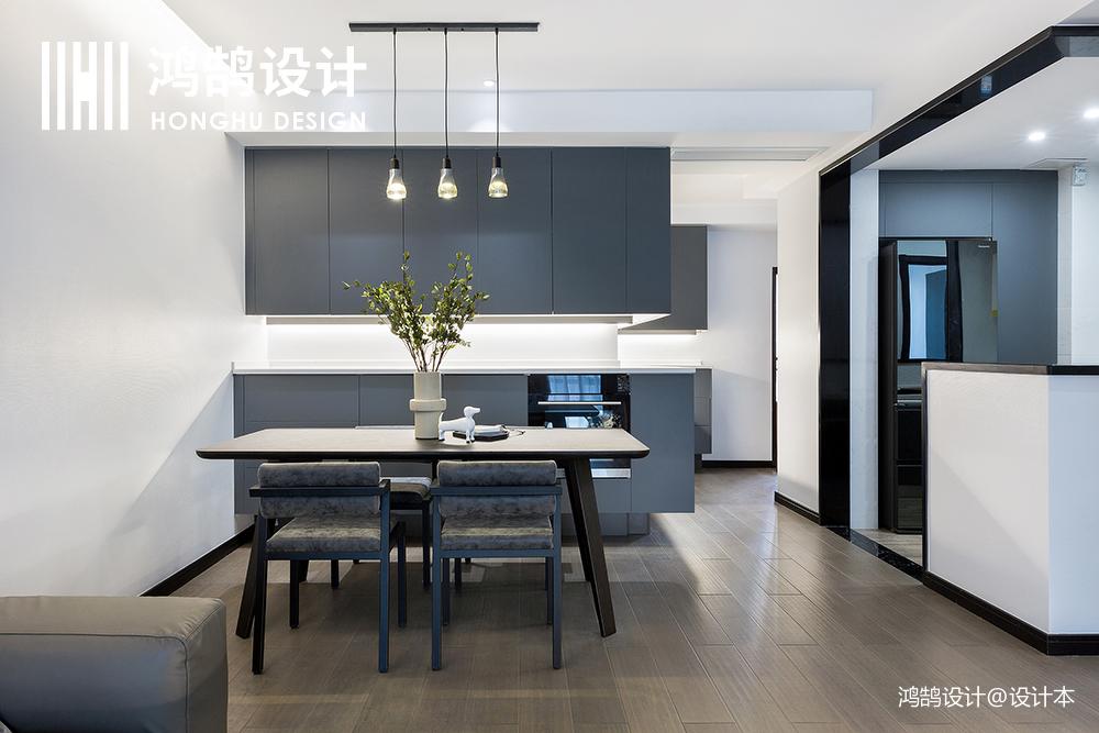 质朴85平简约二居效果图片大全厨房木地板现代简约餐厅设计图片赏析