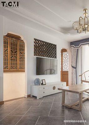 精美113平方四居客厅中式装修欣赏图片大全四居及以上中式现代家装装修案例效果图