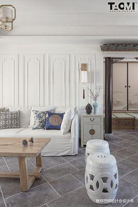2018面积114平中式四居客厅设计效果图四居及以上中式现代家装装修案例效果图