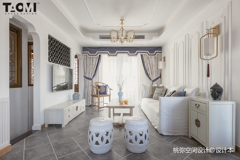 2018精选130平米四居客厅中式装修欣赏图片大全四居及以上中式现代家装装修案例效果图