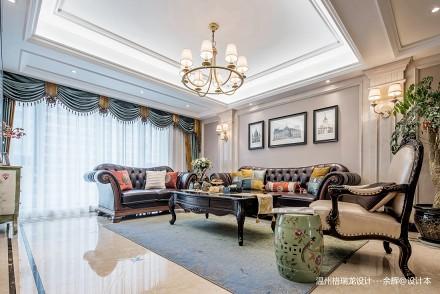 热门99平方三居客厅美式装修设计效果图片欣赏三居美式经典家装装修案例效果图