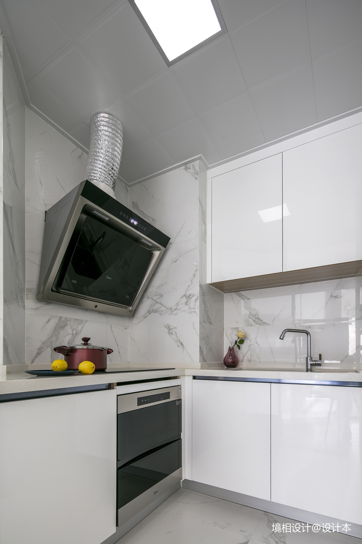 大客厅、中西厨、隐形门79m²简约风竟装出100m²即视感餐厅现代简约厨房设计图片赏析