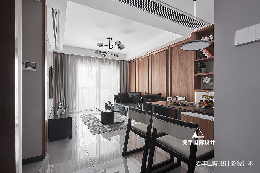 现代简约风三居沙发背景墙设计厨房现代简约餐厅设计图片赏析