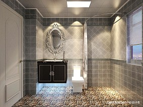 精选二居卫生间新古典装修实景图片81-100m²二居美式经典家装装修案例效果图