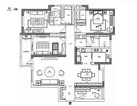 轻奢106平美式四居图片大全四居及以上美式经典家装装修案例效果图