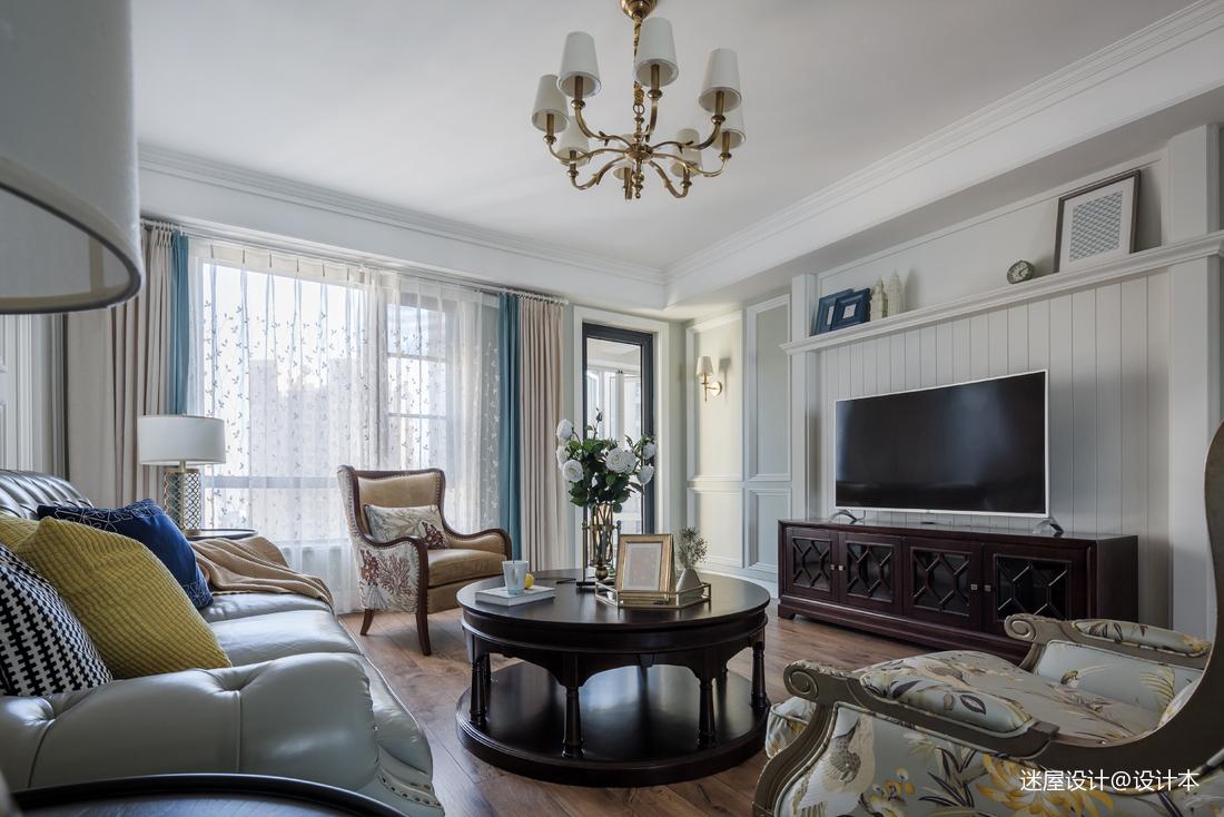美式四居电视墙设计客厅美式经典客厅设计图片赏析