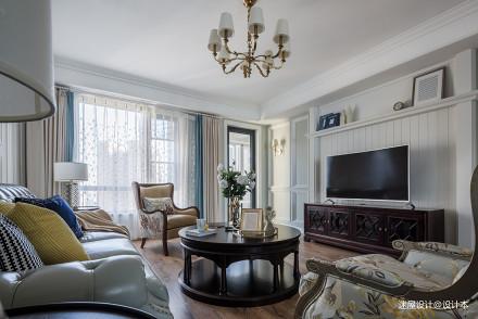 美式四居电视墙设计四居及以上美式经典家装装修案例效果图