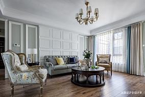 美式四居沙发背景墙设计四居及以上美式经典家装装修案例效果图