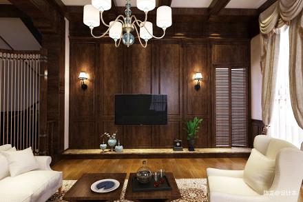 热门144平米美式别墅客厅实景图片欣赏151-200m²别墅豪宅美式经典家装装修案例效果图