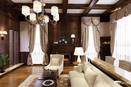 精选118平米美式别墅客厅装修实景图片