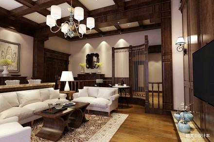 2018精选面积137平别墅客厅美式装修设计效果图片欣赏