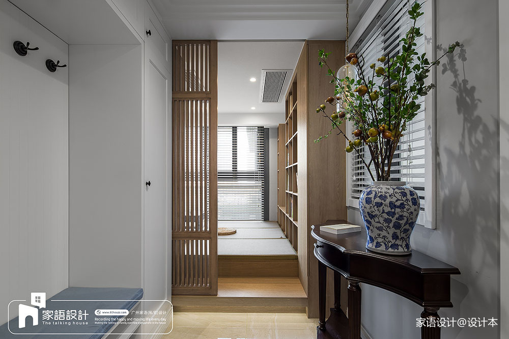 2018面积125平中式四居玄关装饰图片四居及以上中式现代家装装修案例效果图