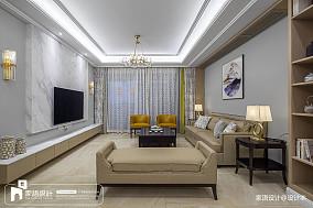 2018精选110平米四居客厅中式装修效果图四居及以上中式现代家装装修案例效果图