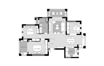 精致160平北欧四居装修图片四居及以上北欧极简家装装修案例效果图
