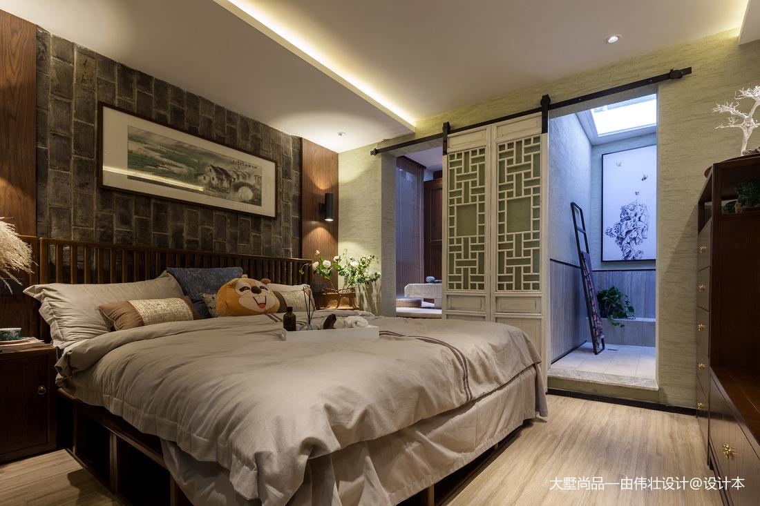 中式风57㎡复式豆荚户型变身六室两厅主卧设计图卧室中式现代卧室设计图片赏析