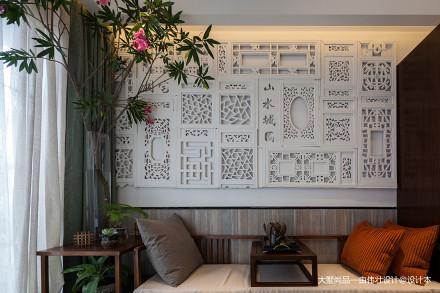 201876平米中式小户型客厅装修设计效果图片大全一居中式现代家装装修案例效果图