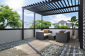 新中式设计合院阳台中式现代设计图片赏析