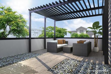 新中式设计合院阳台
