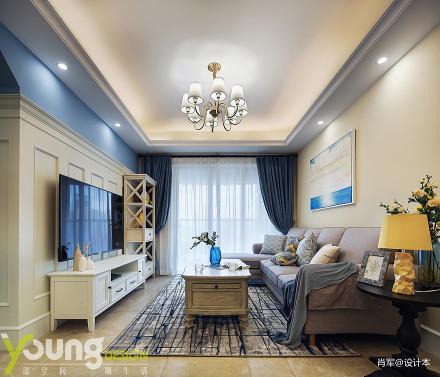 轻奢26平美式小户型客厅布置图