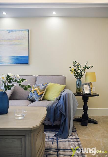 明亮39平美式小户型客厅装修设计图一居美式经典家装装修案例效果图