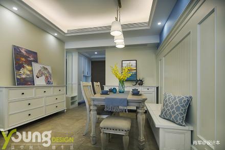 悠雅30平美式小户型客厅实拍图
