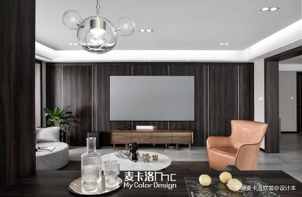 轻奢115平现代三居客厅装修装饰图