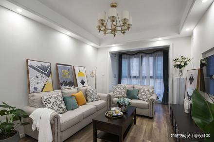 轻奢82平美式三居客厅实拍图客厅