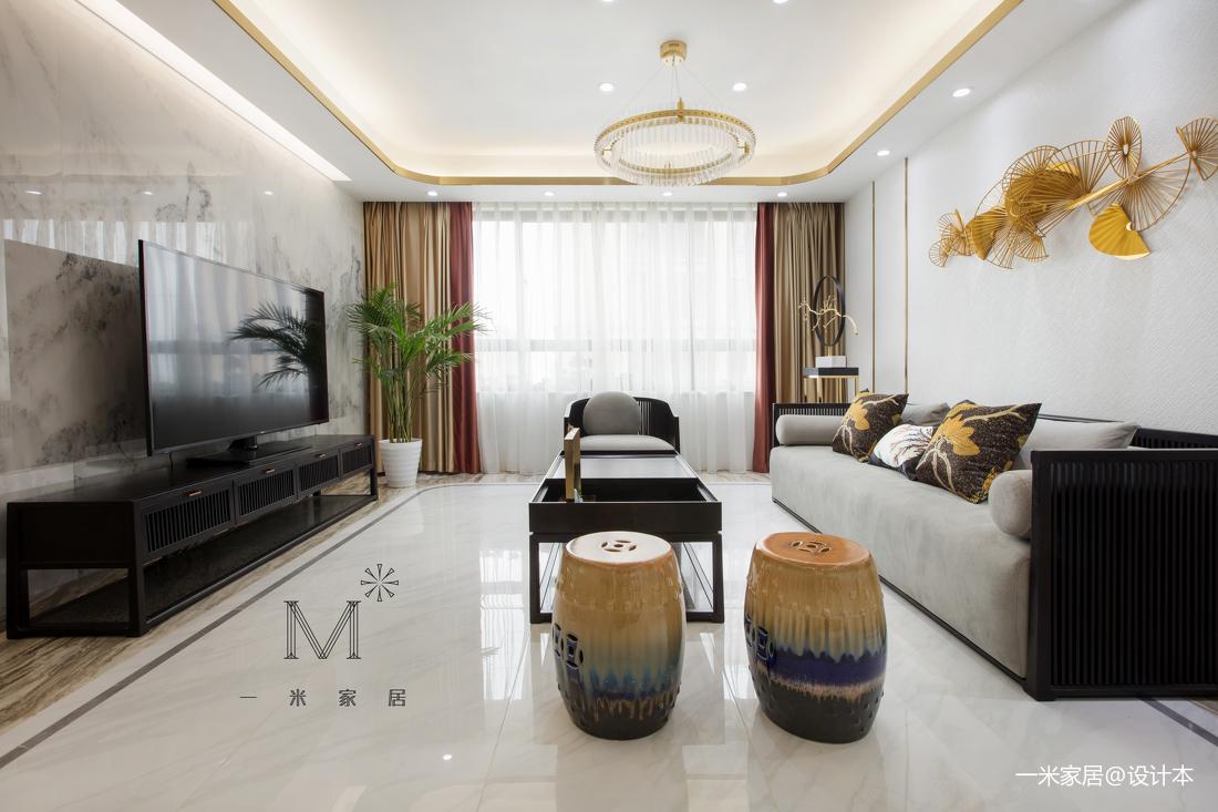 简洁132平中式三居客厅设计案例客厅中式现代客厅设计图片赏析