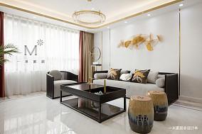 质朴100平中式三居客厅装饰美图三居中式现代家装装修案例效果图