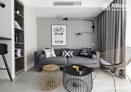 201962平北欧二居客厅效果图欣赏二居北欧极简家装装修案例效果图