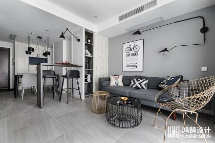 简洁60平北欧二居客厅效果图片大全