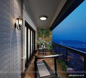 华丽636平欧式别墅阳台设计效果图
