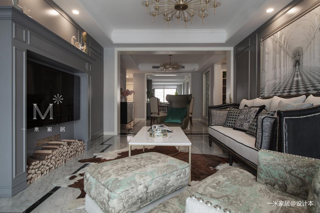 优雅150平美式三居客厅实景图片三居美式经典家装装修案例效果图