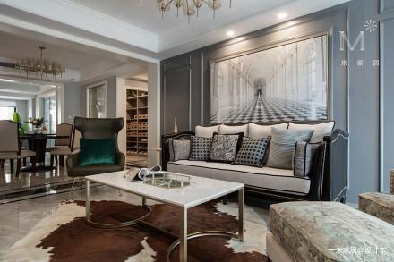 精美113平美式三居客厅设计案例