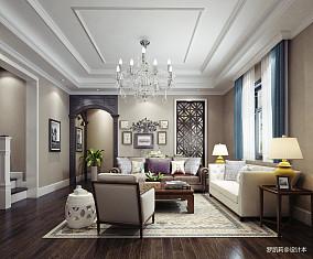 质朴230平美式别墅客厅实景图
